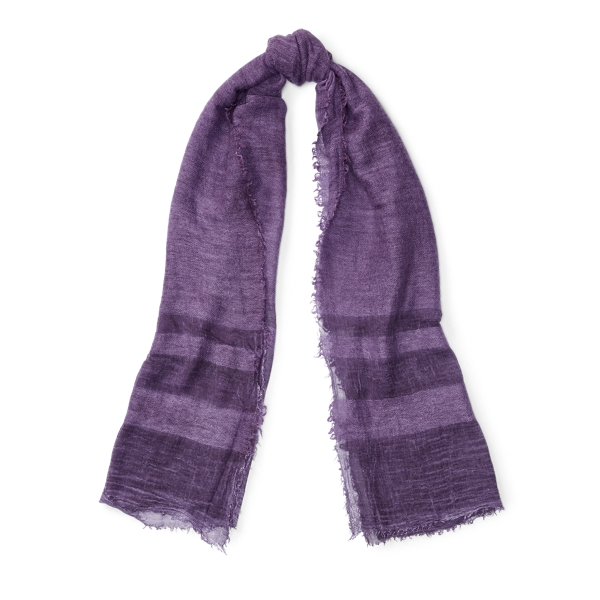 Ralph Lauren Cold-Dyed Border-Striped Scarf Rustic Purple One Size