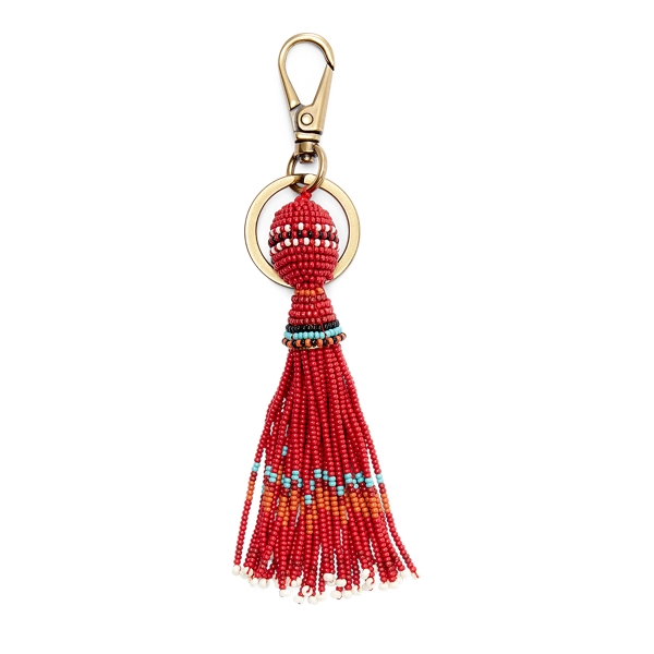 Ralph Lauren Beaded Tassel Key Fob Red Multi One Size