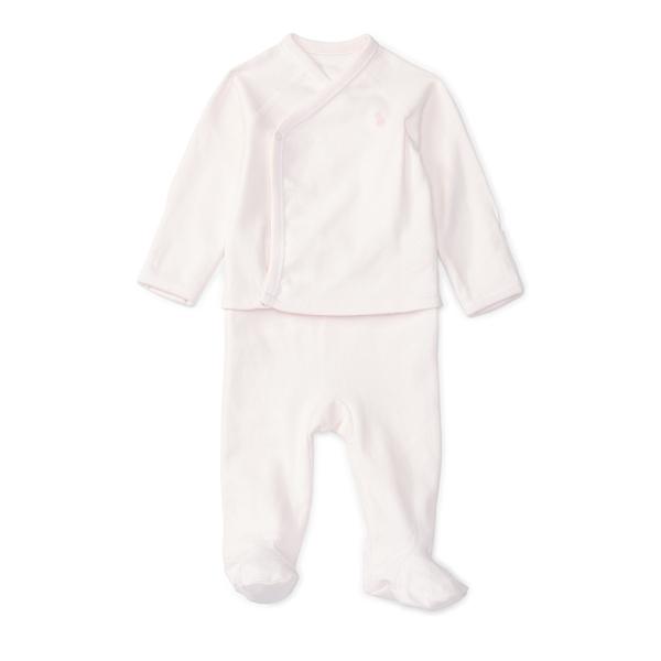 Ralph Lauren Cotton Kimono Top & Pant Set Pink Newborn