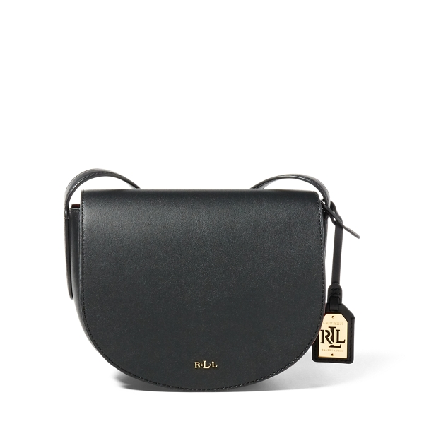 Ralph Lauren Leather Mini Caley Saddle Bag Black/Crimson One Size