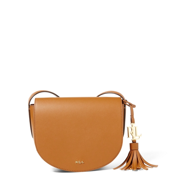 Ralph Lauren Leather Mini Caley Saddle Bag Brown/Monarch Orange One Size