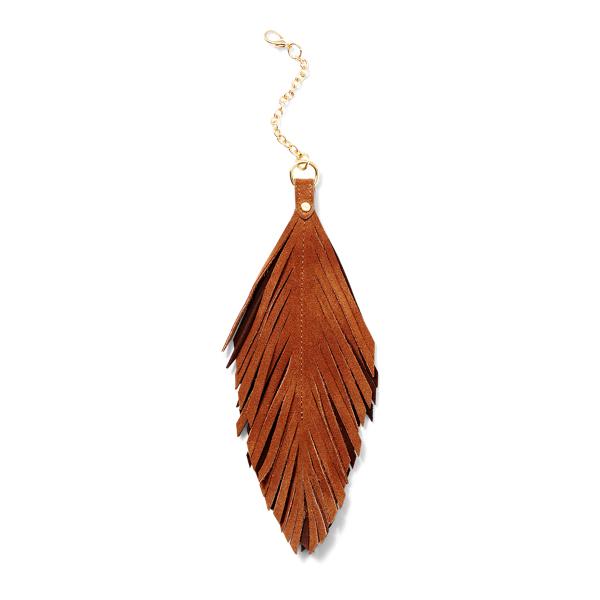 Ralph Lauren Suede-Feather Handbag Chain Khaki/Brown/Dark Brown One Size