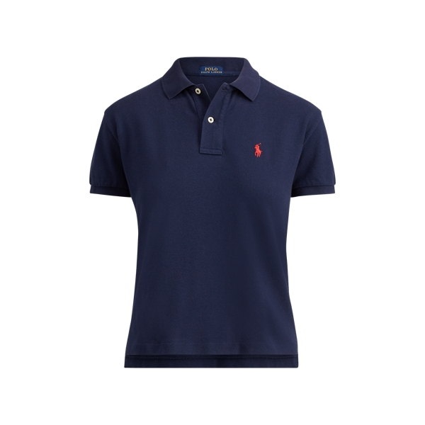 Ralph Lauren Cropped Cotton Mesh Polo Newport Navy S