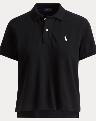 Cropped Cotton Mesh Polo