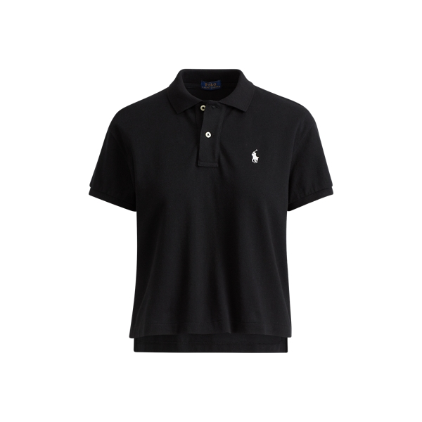 Ralph Lauren Cropped Cotton Mesh Polo Polo Black Xs