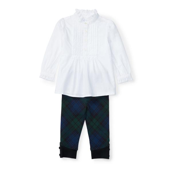 Ralph Lauren Ruffled Top & Plaid Legging White 3M