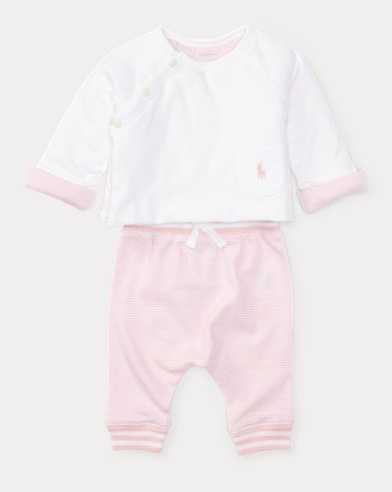 Cotton Top & Striped Pant Set