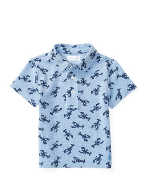 Lobster-Print Cotton Mesh Polo