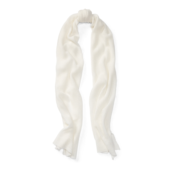 Ralph Lauren Rib-Knit Cashmere Scarf Cream One Size