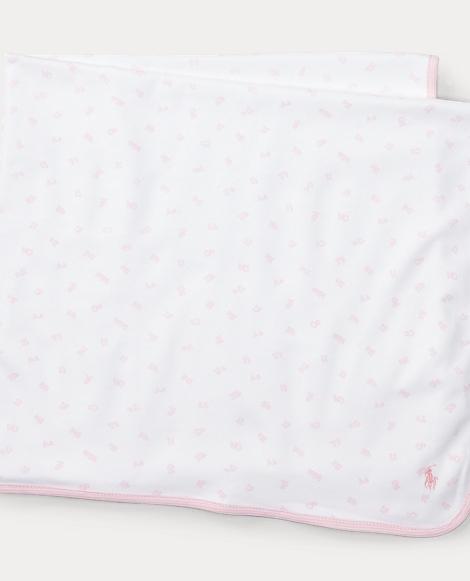 Alphabet-Print Cotton Blanket