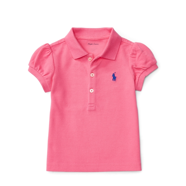Ralph Lauren Puff-Sleeve Cotton Mesh Polo Desert Pink 6M