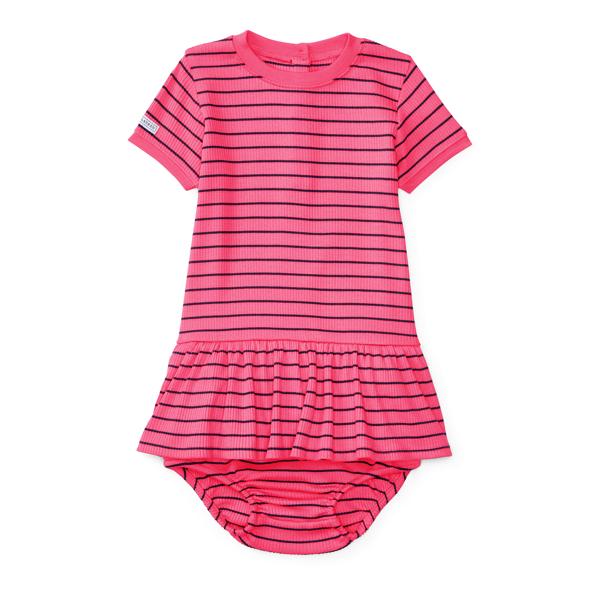 Ralph Lauren Striped Knit Dress & Bloomer Desert Pink/French Navy 3M