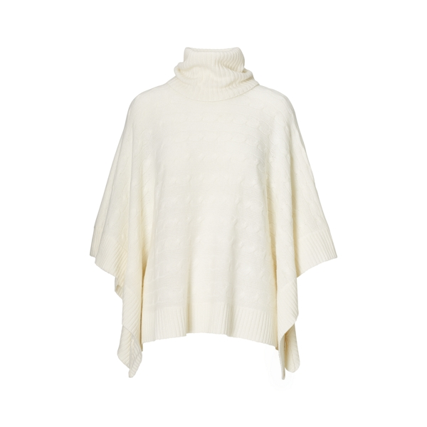Ralph Lauren Cable Wool-Cashmere Poncho Collection Cream M