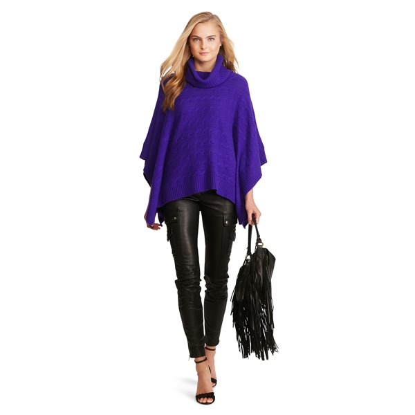 Ralph Lauren Cable Wool-Cashmere Poncho British Purple Xs