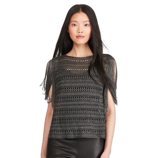 Ralph Lauren Fringed Metallic Pullover Pewter S