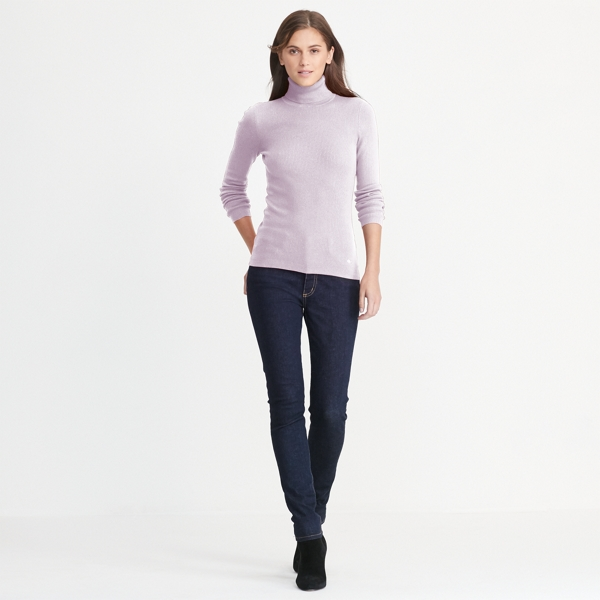 Ralph Lauren Ribbed Turtleneck Sweater Pale Rose L