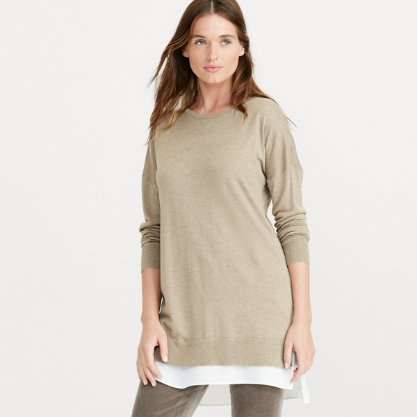 Ralph Lauren Layered Long-Sleeve Sweater Hayfield Heather S