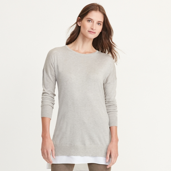 Ralph Lauren Layered Long-Sleeve Sweater Platinum Heather L