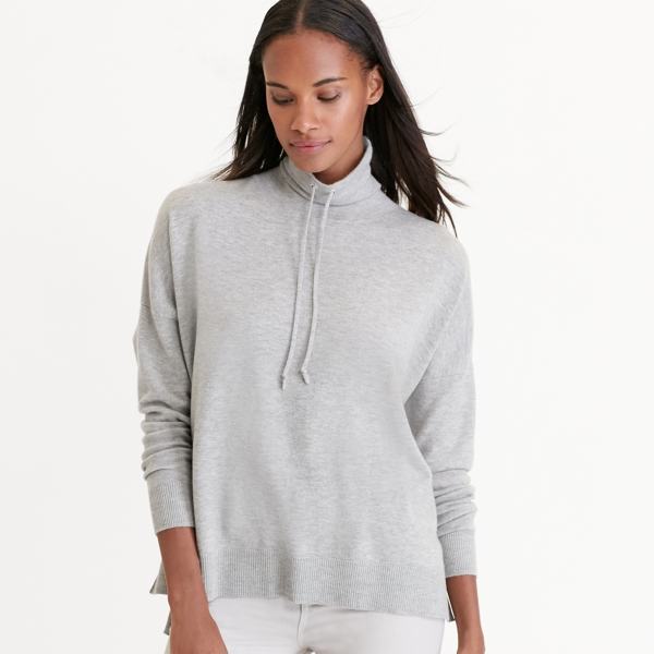 Ralph Lauren Wool-Blend Funnelneck Sweater Platinum Heather Xs
