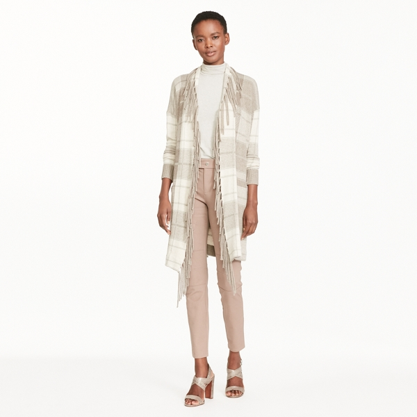 Ralph Lauren Plaid Fringe-Trimmed Cardigan Grey Multi Xs