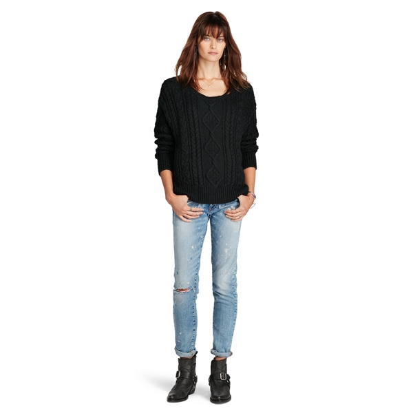 Ralph Lauren Cable-Knit Cotton Sweater Black S