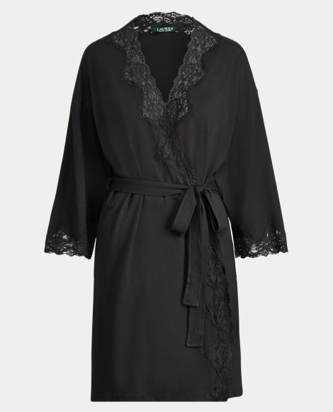 Lace-Trim Stretch Cotton Robe