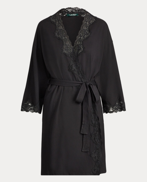 Lace-Trim Stretch Cotton Robe