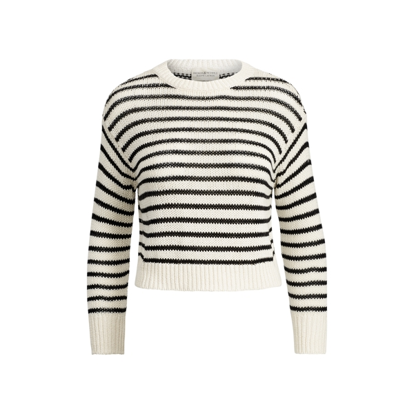 Ralph Lauren Striped Cotton Sweater Cream Black M
