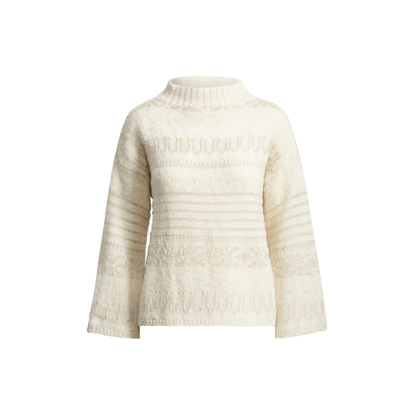 Ralph Lauren Wool-Alpaca Boatneck Sweater Cream Multi Xl