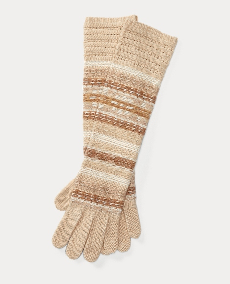 Striped Fair Isle Long Gloves