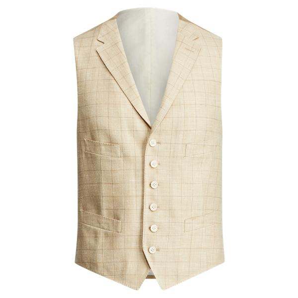 Ralph Lauren Windowpane Silk-Linen Vest Light Tan 40