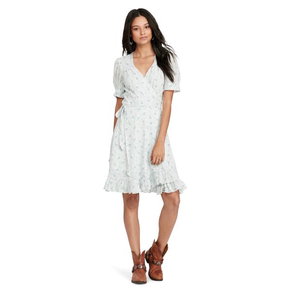 Ralph Lauren Floral-Print Gauze Wrap Dress Blue Floral L