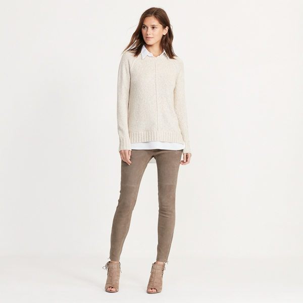 Ralph Lauren Layered Cotton-Blend Sweater Hastings Taupe M