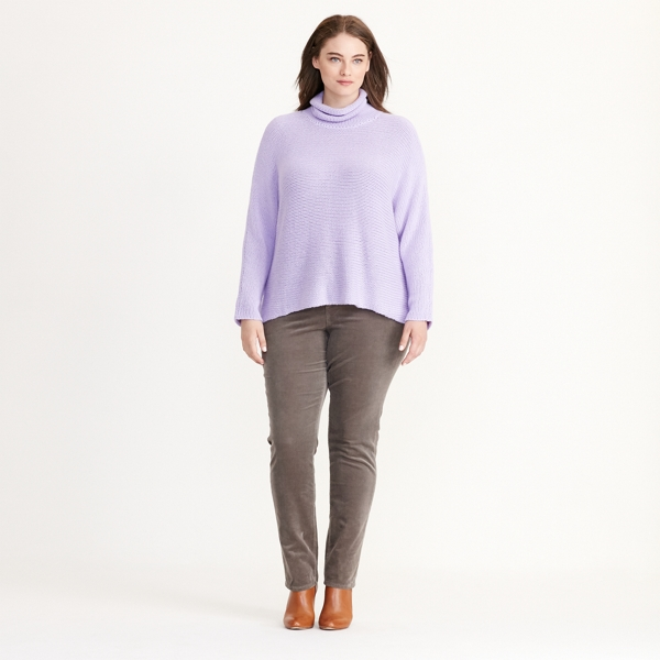 Ralph Lauren Wool-Blend Funnelneck Sweater Powder Purple 1X