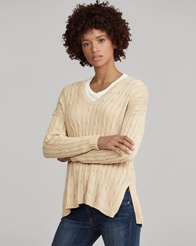 Cable-Knit Side-Slit Sweater