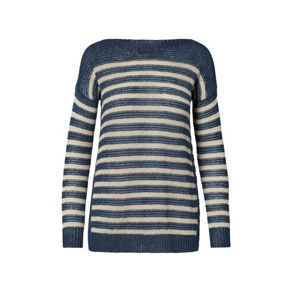 Ralph Lauren Striped Linen Boatneck Sweater Bright Navy/ Cream L