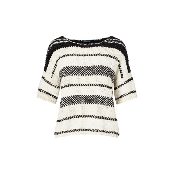Ralph Lauren Boxy Cotton-Blend Sweater White/Black M