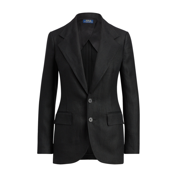Ralph Lauren Linen 2-Button Blazer Polo Black 2