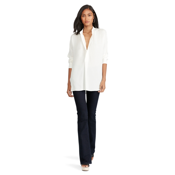 Ralph Lauren Silk Georgette Shirt Paper White Xs