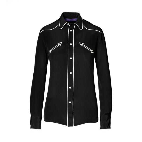 Ralph Lauren Carson Silk Western Shirt Black 10