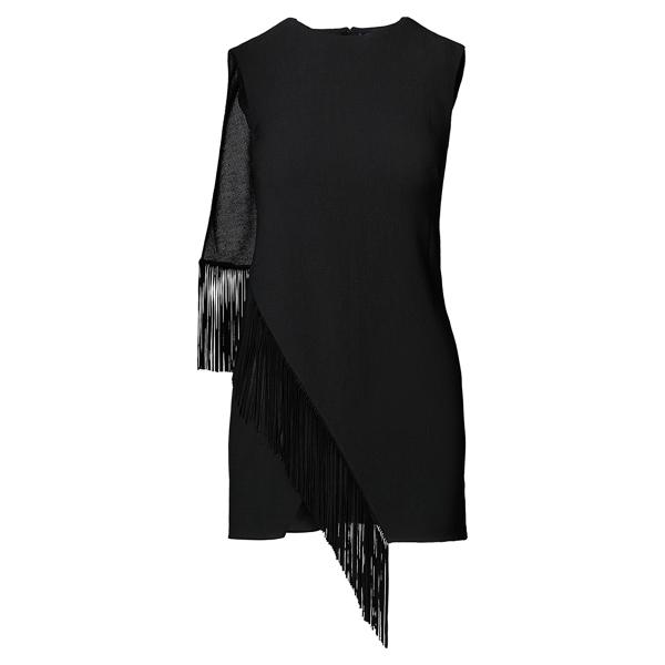 Ralph Lauren Margerie Suede-Fringe Tunic Black 10
