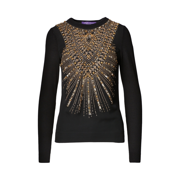 Ralph Lauren Beaded Cashmere Sweater Black M