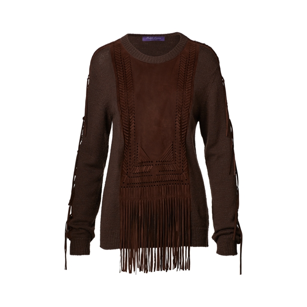 Ralph Lauren Suede-Trim Silk-Blend Sweater Espresso W/ Chocolate L