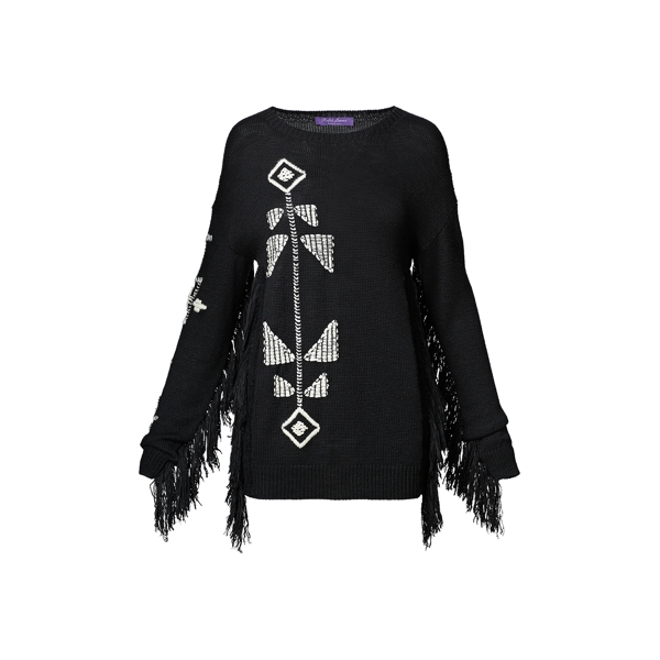 Ralph Lauren Fringed Silk-Blend Sweater Black/Vanilla Xs