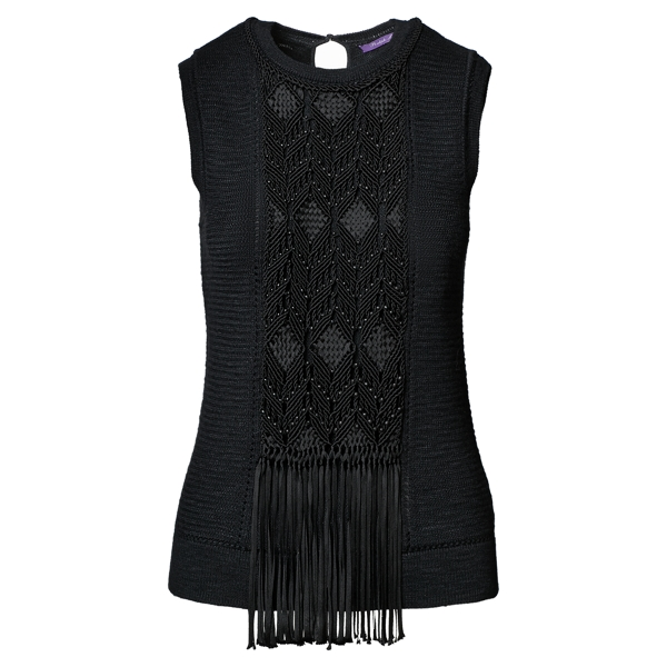 Ralph Lauren Macramé Sleeveless Sweater Black L