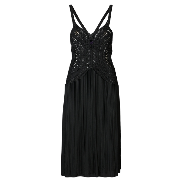 Ralph Lauren Crocheted Fringe-Trim Dress Black L