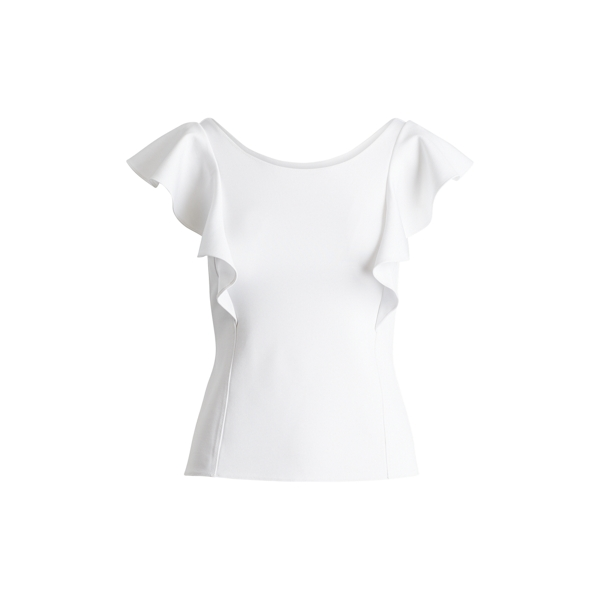 Ralph Lauren Ruffle-Sleeve Scoop-Back Top White S