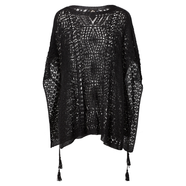 Ralph Lauren Pointelle-Knit Poncho Black M/L