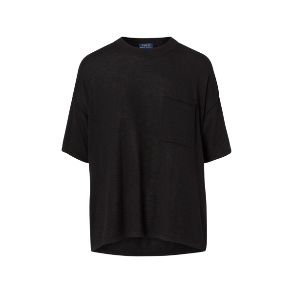 Ralph Lauren Boxy Cashmere Pocket Tee Polo Black Xs