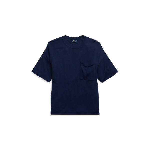 Ralph Lauren Boxy Cashmere Pocket Tee Bright Navy Xs